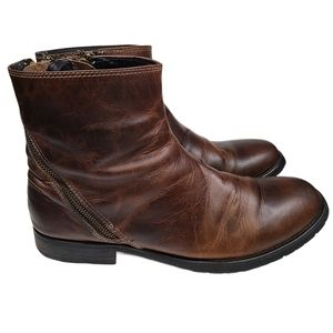 Bed Stu Mens Leather Double Zippered Ankle Boots